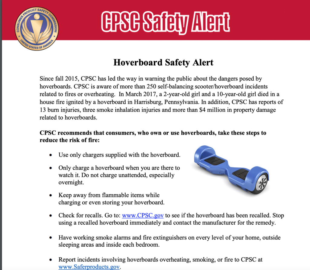 Hoverboard safety alert